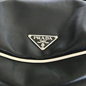 Authentic Prada Black Leather Double Pockets Bag