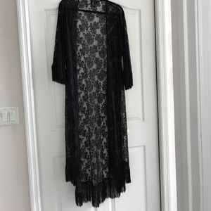 Forever 21 Long black lace cover up with fringe