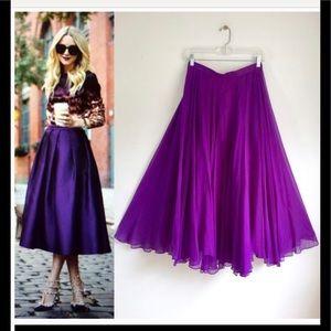 VINTAGE bright purple 100% silk midi skirt