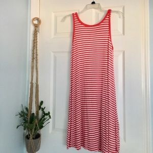 Red and White Stripe Sleeveless Swing Dress