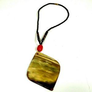 Unique vintage necklace large earth tones pendant