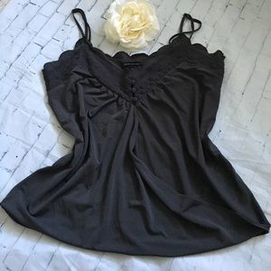 Scalloped Embroidered Draped Camisole with Buttons