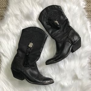 Zodiac Black Leather Tassel Boots