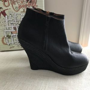 Jeffrey Campbell Zipper Wedge Leather Bootie