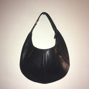Salvatore Ferragamo black leather hobo purse