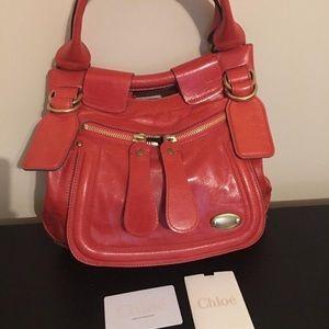 Red leather Chole Satchel shoulder bag