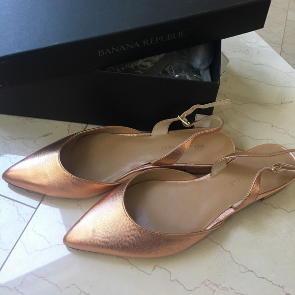 75ea8710d244 Rose Gold pointed toe sling back flats new