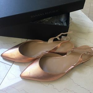 Rose Gold pointed toe sling back flats new