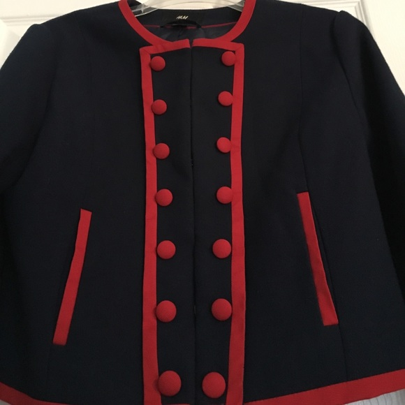 H&M Jackets & Blazers - Unique Blazer with Red Piping and Buttons