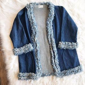 Vintage Handmade Denim Fringe Jacket