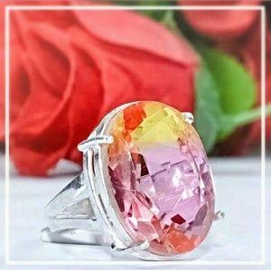 925 sterling silver, Pink topaz ring