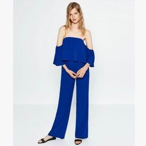 Blue Zara off-the-shoulder jumpsuit
