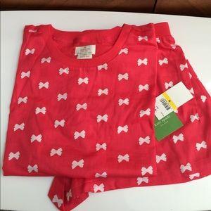 Kate Spade Pink + White Bows 2pc Short Pajama Set