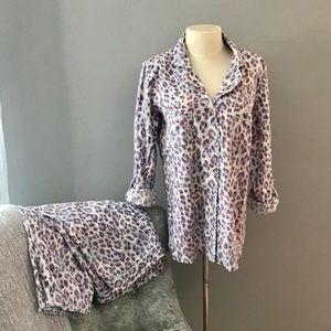 Victoria's Secret flannel PJs purple blue leopard