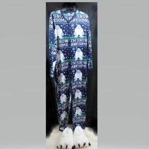 Ugly Union Yeti Bodysuit Pajamas w/ House Slippers