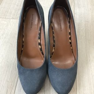 Gray suede wedge pumps. Size 8