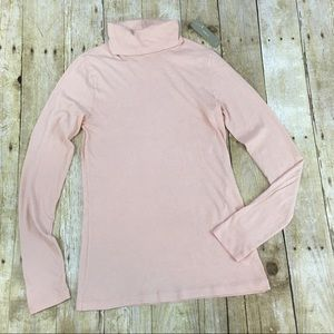 J. Crew Tissue Turtleneck T-Shirt in Blush Pink