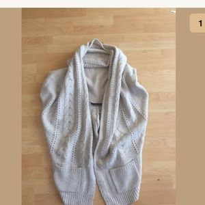 Bcbgmaxazria Cable Knit Open Cardigan OS Beige