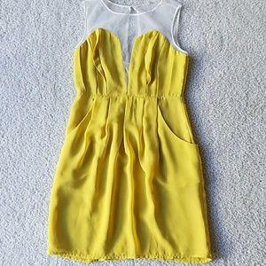 Dresses & Skirts - Italian yellow and white sheer dress
