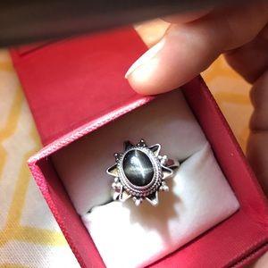Black Star Sapphire Ring, 925 Silver