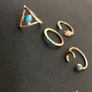 4-Piece Ring Set   Adjustable Tribal Triangles