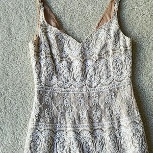 Caché flesh and white lace dress