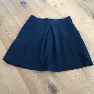 Aline front pleat navy mini skirt