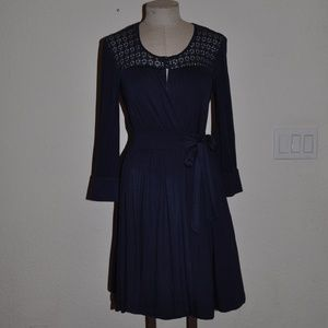Anthropologie ELLA MOSS Navy Blue Faux Wrap Dress