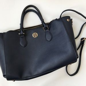 Tory Butch blue leather purse tote