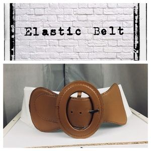 White/Brown elastic and leather belt