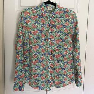 J. Crew Floral button down shirt.