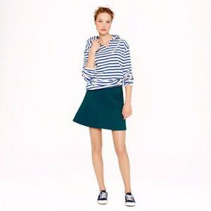 J.CREW Pine Green Black Label Fluted A-Line Skirt