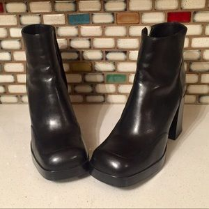 Black Leather Chunky Boots Vintage 90s Diba 7.5