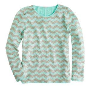 Zigzag sequin tee. Color Mint/Beige.