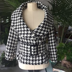 Wet Seal Houndstooth belted pea coat