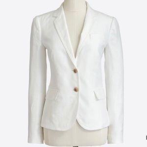 J. Crew Schoolboy Linen Blazer in White