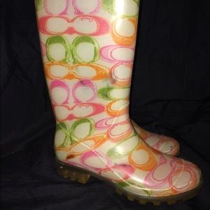 Genuine Coach Signature Rain Boots - Size 5