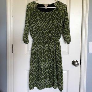 Banana Republic Dress Stripes Olive Green and Gray