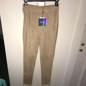 Faux Suede High Wasted Skinny Trousers, Taupe
