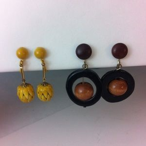 2pair of metal , wood & Bakelite clip earrings