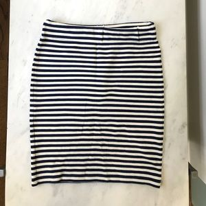 Madewell Navy + white striped knit skirt sz XS