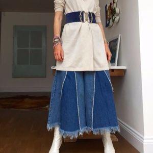 Zara Trafaluc Wide Leg Culotte Fringe Hem Jeans