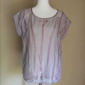 a.n.a A New Approach sheer bamboo print blouse top