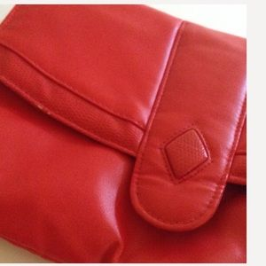 Red Vintage Faux Skin Clutch Purse Bag Handbag