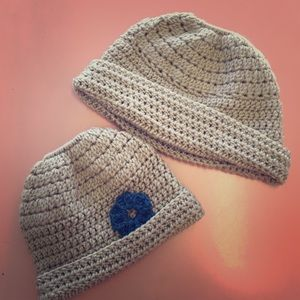 Tan Crocheted Mother Daughter Hats