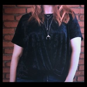 Black velvety front knot top. Super cute!