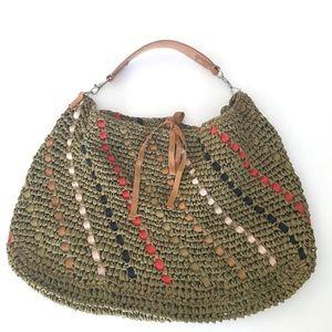 Jcrew straw, ribbon & leather hobo bag green