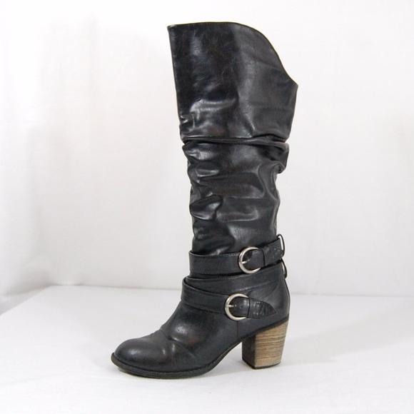 72f0908a4c99 Diba Shoes - Diba Wide Calf Buckle Chunky Heel Boots