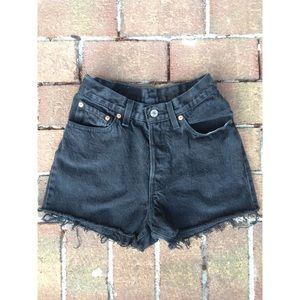 Vintage Levis Black High Waisted Denim Shorts
