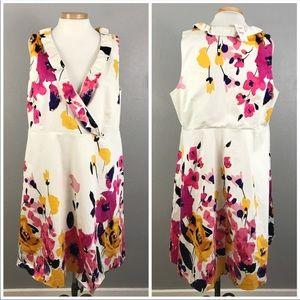 Lane Bryant White Floral Faux Wrap NWT Midi Dress